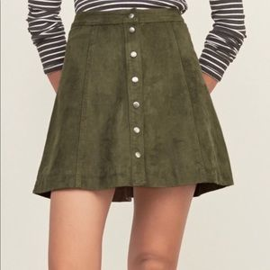 abercrombie and fitch suede skirt (army green)